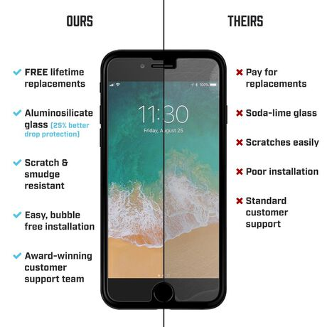 Apple iPhone 8 BodyGuardz® Pure® 2 Premium Glass Screen Protector, , large