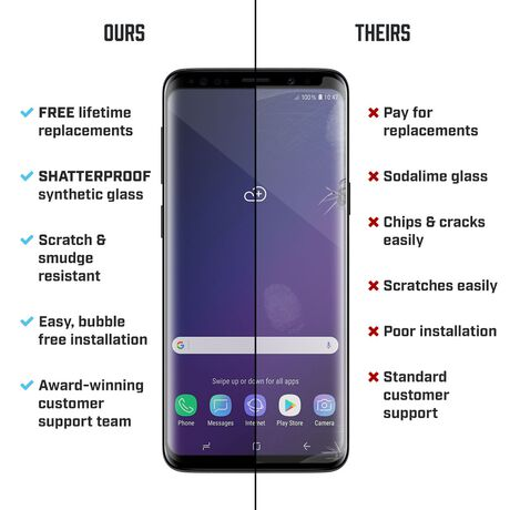 Samsung Galaxy S9+ PRTX® Shatterproof Synthetic Glass Screen Protector, , large