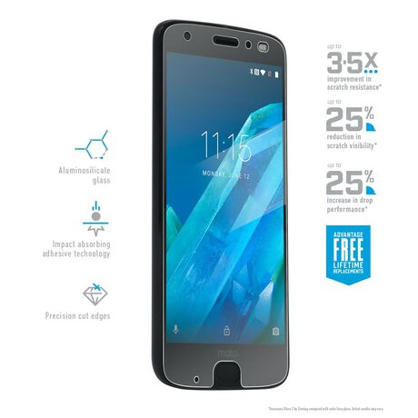 Motorola Moto Z2 Force Edition BodyGuardz Pure® 2 Premium Glass Screen Protector, , large