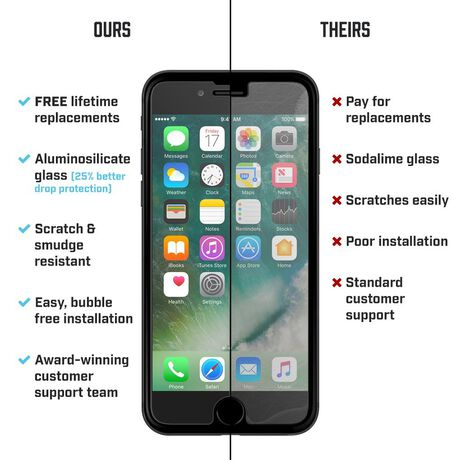 Apple iPhone 7 Plus BodyGuardz Pure® 2 Premium Glass Screen Protector, , large