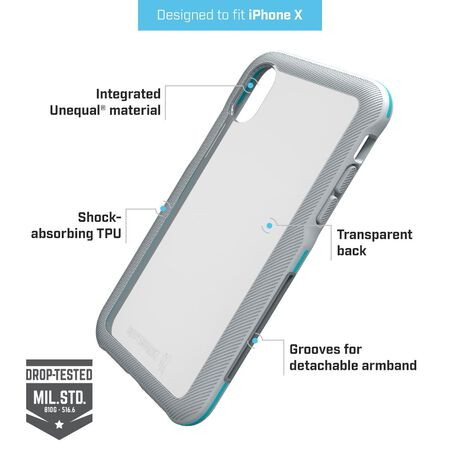 BodyGuardz Trainr Pro Case with Unequal Technology (Gray/Mint) for Apple iPhone X, , large