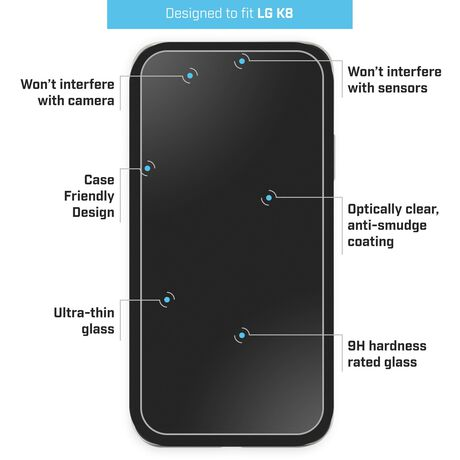 LG K8+ (2018) BodyGuardz Pure® 2 Premium Glass Screen Protector, , large