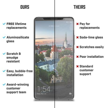 Huawei Mate10 Pro BodyGuardz Pure® 2 Premium Glass Screen Protector, , large