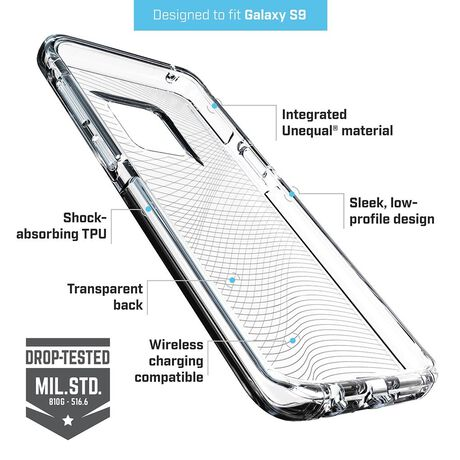 BodyGuardz Ace Fly Case featuring Unequal (Clear/Clear) for Samsung Galaxy S9, , large