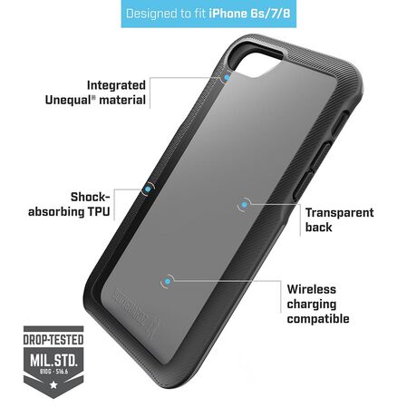 BodyGuardz Trainr Case with Unequal Technology (Black/Gray) for Apple iPhone SE (2nd Gen) / iPhone 8 / iPhone 7 / iPhone 6s, , large