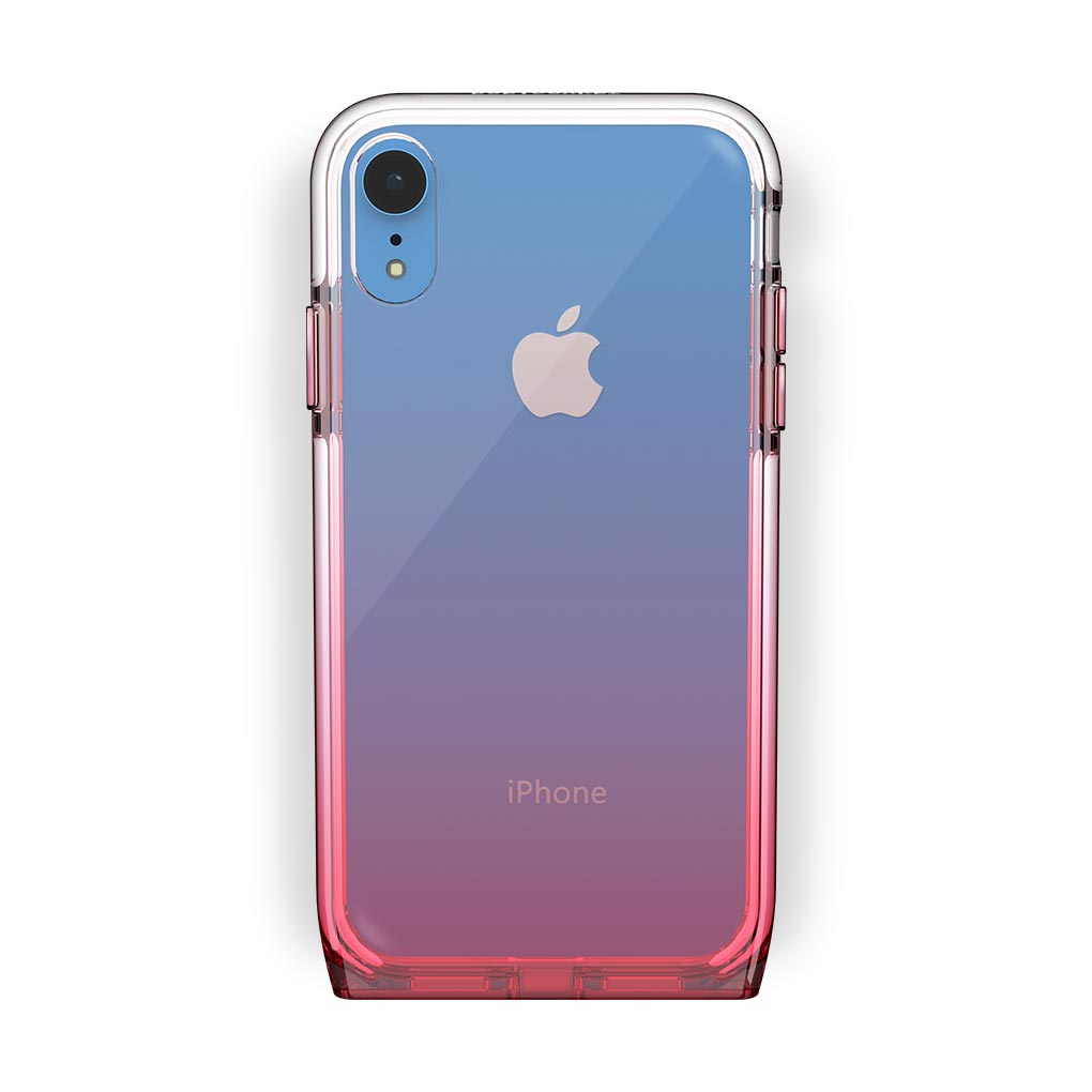 iPhone Xr Blue with Harmony Rose Quartz Clear Case