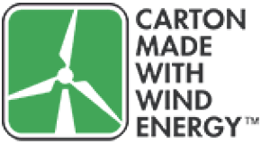 Carton made with wind energy.