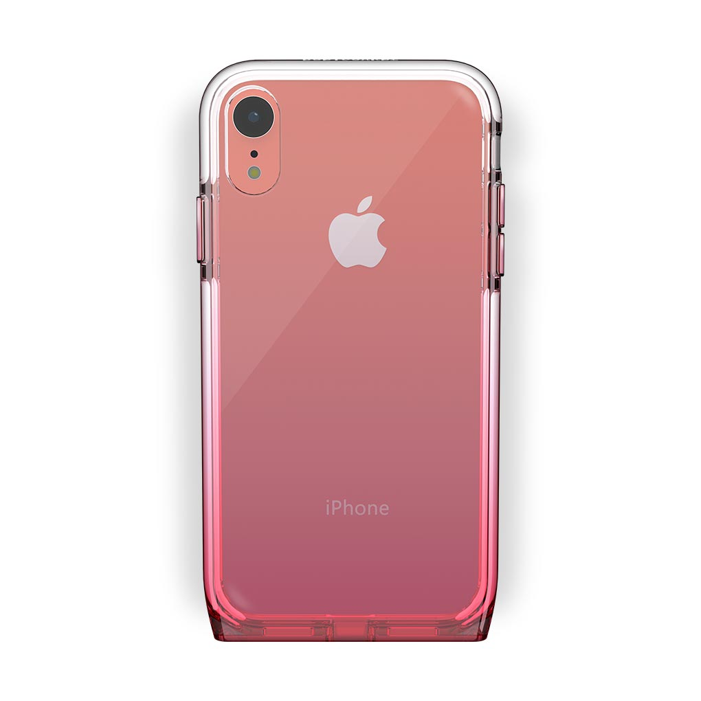 iPhone Xr Coral with Harmony Rose Quartz Clear Case