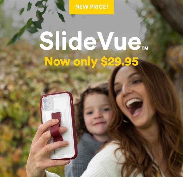 Slidevue case with sliding fingerloop/kickstand