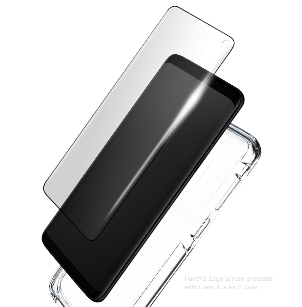 Glass Screen Protector for Galaxy S10 with clear black case
