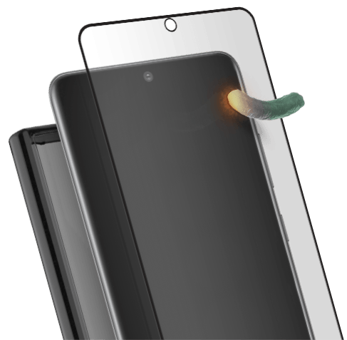 Screen protector with PureGuard blocking out bacterial growth.