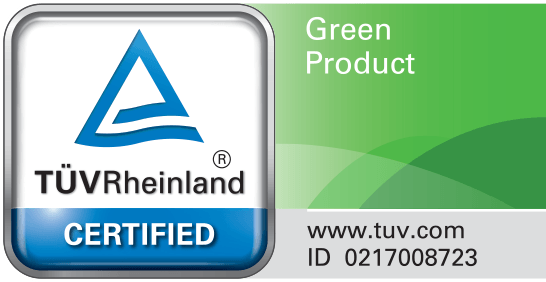 TUV Rheinland Green Product Certification mark.