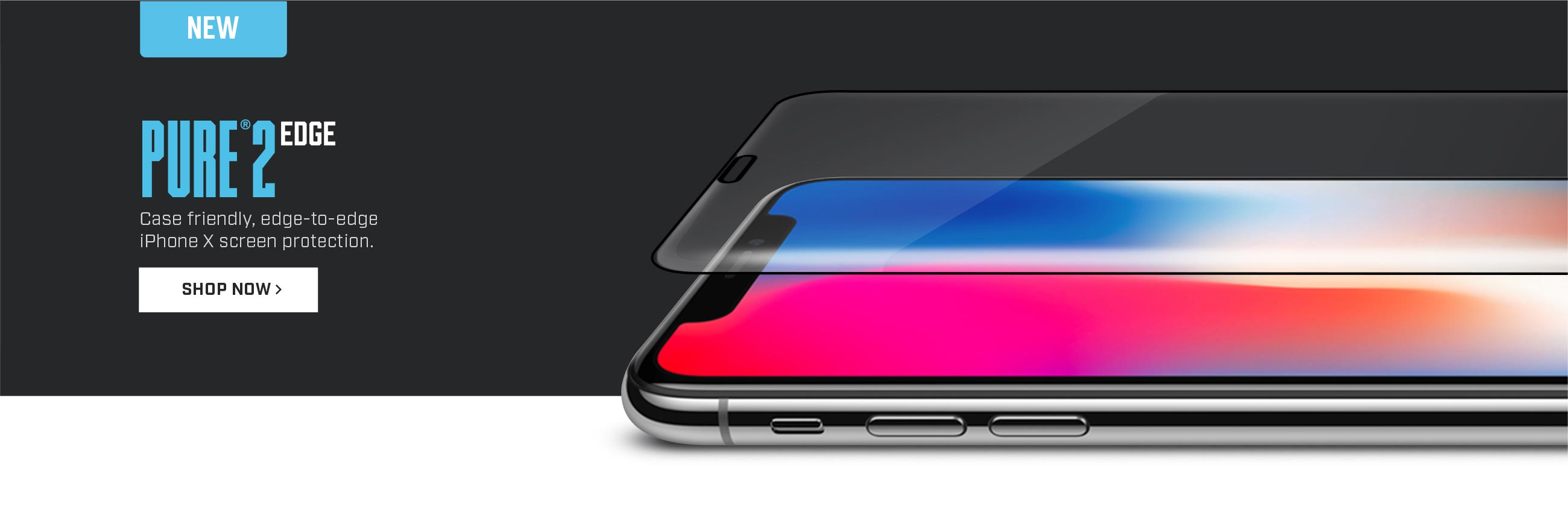 Case friendly, edge-to-edge screen protection